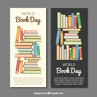 Bandeiras coloridas livro em design plano