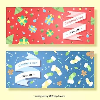 Bandeiras com fitas de ofertas de natal