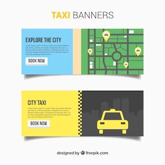 Bandeiras com mapa de serviço de táxi
