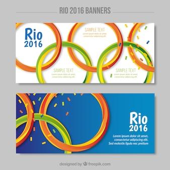 Bandeiras com símbolo dos jogos olímpicos