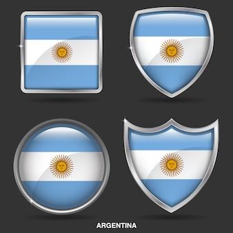 Bandeiras da argentina no ícone de 4 formas