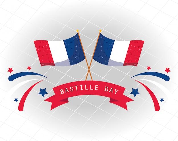 Bandeiras da frança com fita de feliz dia da bastilha design
