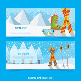 Bandeiras da paisagem com elementos de esqui
