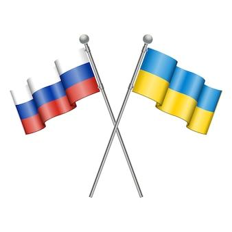 Bandeiras da ucrânia e da rússia