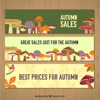 Bandeiras da venda do outono com cogumelos