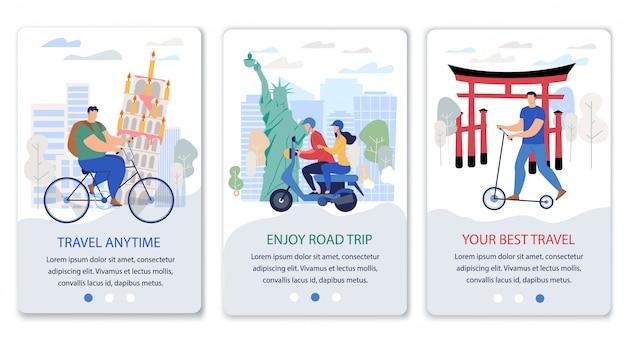 Bandeiras da web de aplicativos móveis para serviços de viagem