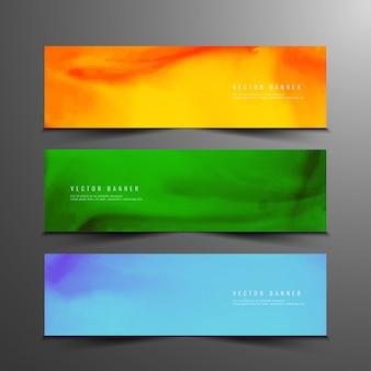 Bandeiras de aquarela coloridas abstratas