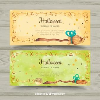 Bandeiras de aquarela de halloween com vassouras