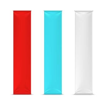 Bandeiras de banner de publicidade vertical vazio de cor