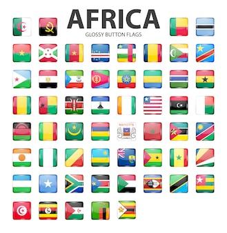 Bandeiras de botão brilhante áfrica. cores originais.