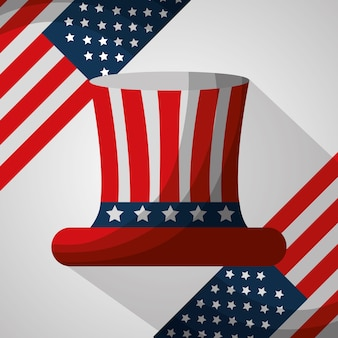 Bandeiras de cartola ilustração em vetor americano dia da independência