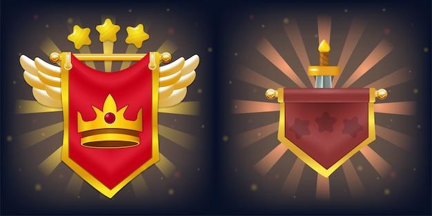 Bandeiras de cavaleiro com vitória e falha no jogo