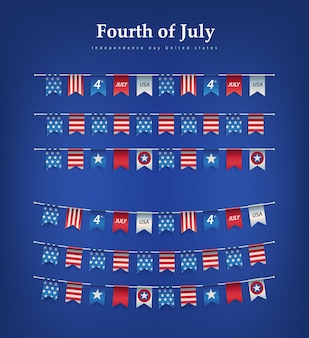 Bandeiras de celebração do dia da independência dos eua 4 de julho, guirlandas