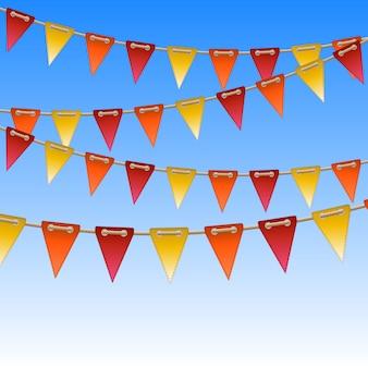 Bandeiras de celebração na corda