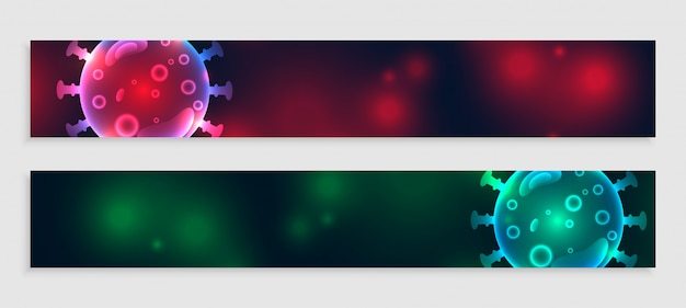 Bandeiras de coronavírus definidas em dois tons de cores