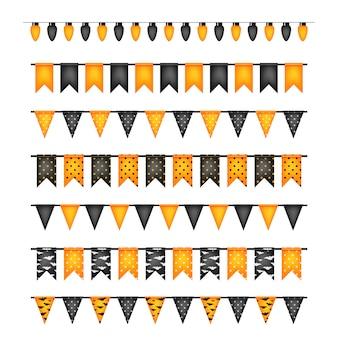 Bandeiras de decoração de halloween e guirlandas de lâmpadas isoladas