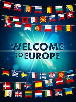 Bandeiras de diferentes países da europa