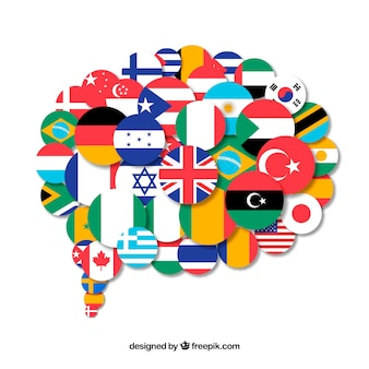 Bandeiras de diferentes países em forma de bolha do discurso
