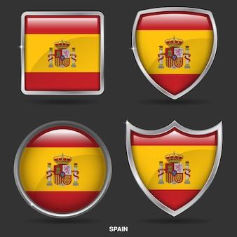 Bandeiras de espanha em 4 ícone de forma