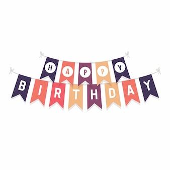 Bandeiras de estamenha bonito com letras feliz aniversário.