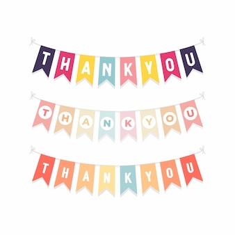 Bandeiras de estamenha bonito com letras obrigado.