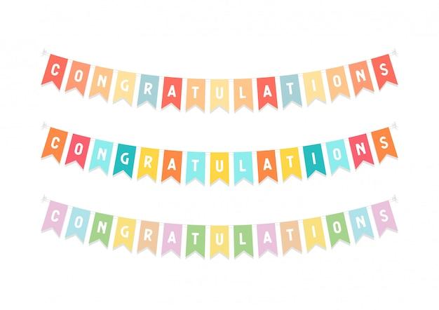 Bandeiras de estamenha bonito com letras parabéns.