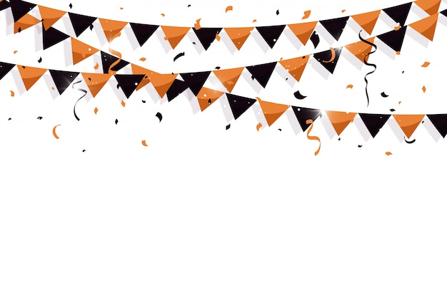Bandeiras de estamenha coloridas com confetes e fitas para o halloween