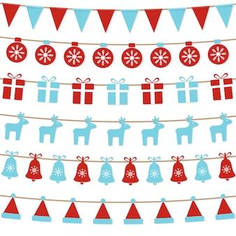 Bandeiras de estamenha de natal, bolas, caixa de presente, renas.