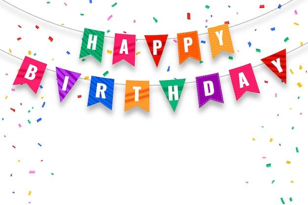 Bandeiras de feliz aniversário e cartão de confete