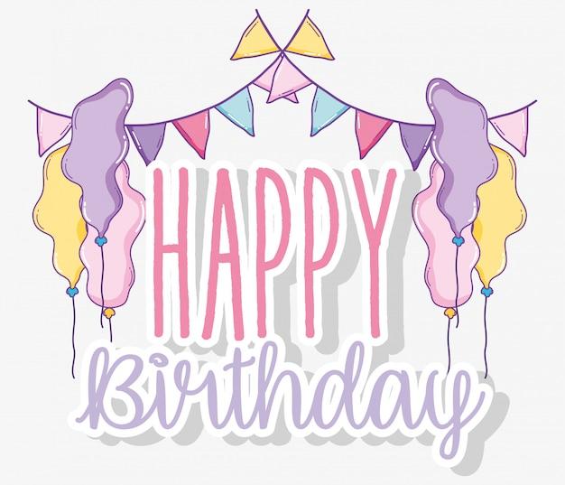 Bandeiras de festa com balões para feliz aniversário