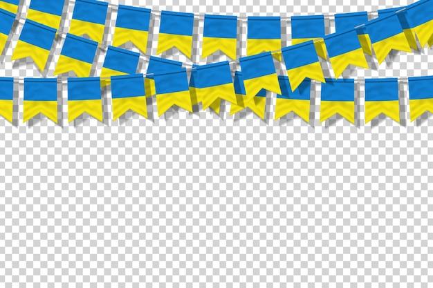 Bandeiras de festa isoladas realistas de vetor para a ucrânia para decoração de modelo