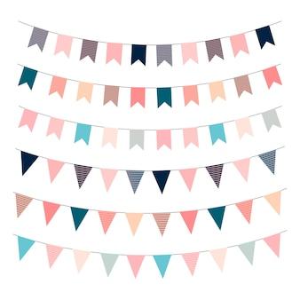 Bandeiras de festão. sinalizadores de modelo para impressão. ilustração em vetor feliz aniversário