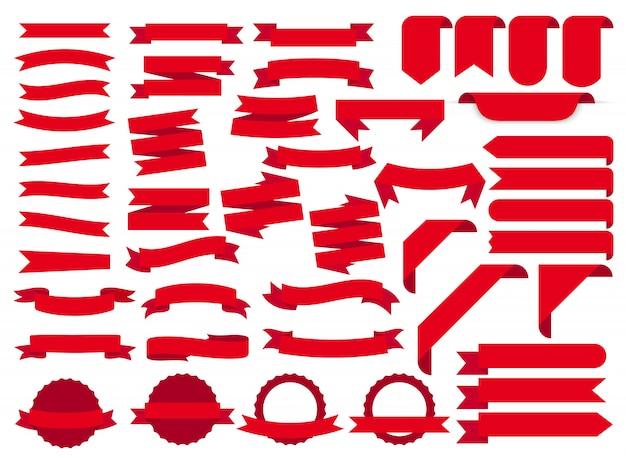 Bandeiras de fita vermelha, conjunto de etiquetas do modelo. em branco para o gráfico de decoração. ilustração