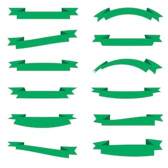 Bandeiras de fitas planas vector plano isolado no fundo branco, conjunto de ilustração de fita azul