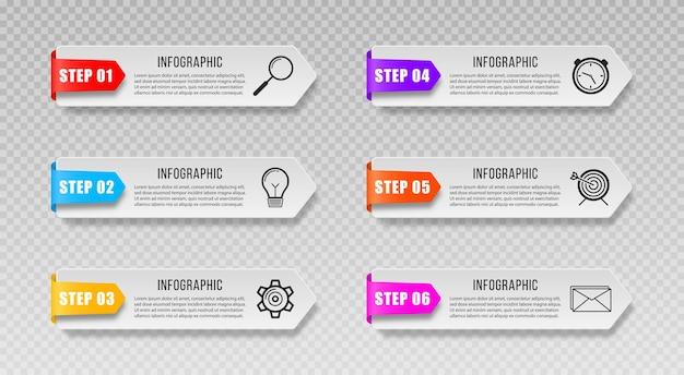 Bandeiras de infográfico etiqueta apresentações de tags ícones de marketing para diagrama de layout de fluxo de trabalho anual