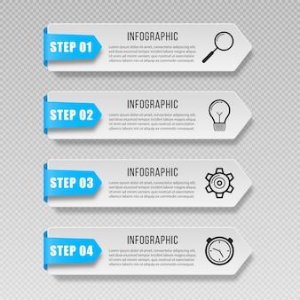 Bandeiras de infográfico etiqueta apresentações de tags ícones de marketing para diagrama de layout de fluxo de trabalho