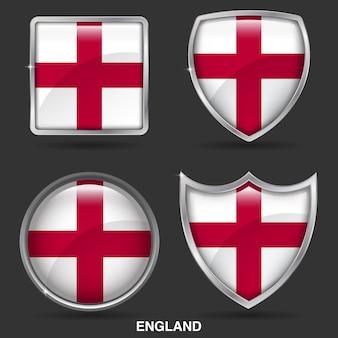 Bandeiras de inglaterra em ícone de 4 forma