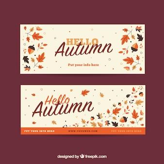 Bandeiras de outono estilo vintage com folhas secas
