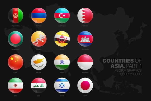 Bandeiras de países asiáticos ícones redondos brilhantes definidos isolados na parte de fundo preto