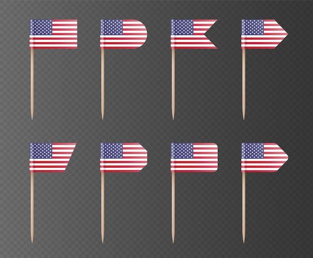 Bandeiras de palito de eua isoladas em um fundo escuro. bandeira americana em uma vara de madeira, decoração para o dia da independência, 4 de julho. coleção de elementos do vetor festa. Vetor Premium