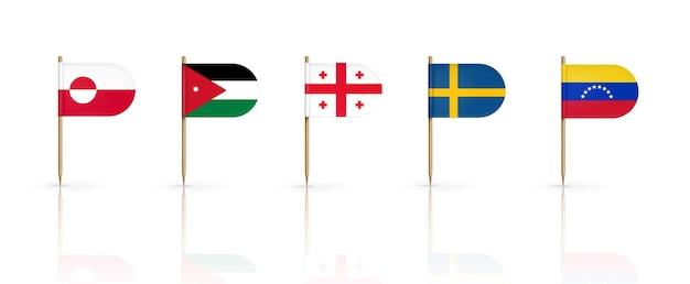 Bandeiras de palitos de dente da groenlândia, jordânia, geórgia, suécia e venezuela