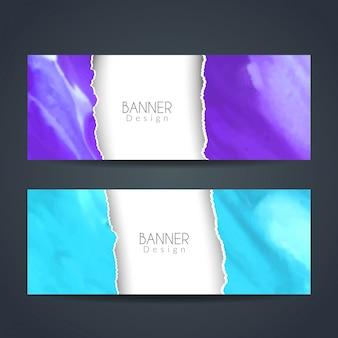 Bandeiras de papel rasgado watercolor estilo
