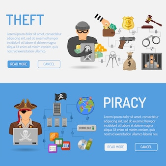 Bandeiras de pirataria e roubo