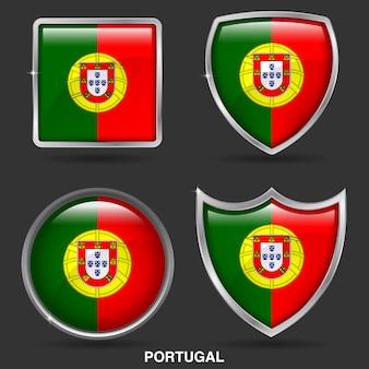 Bandeiras de portugal em 4 ícone de forma
