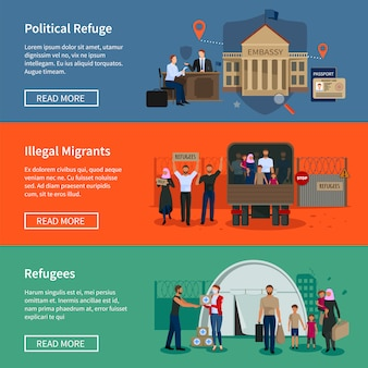 Bandeiras de refugiados apátridas com migrantes muçulmanos ilegais escaparam da guerra