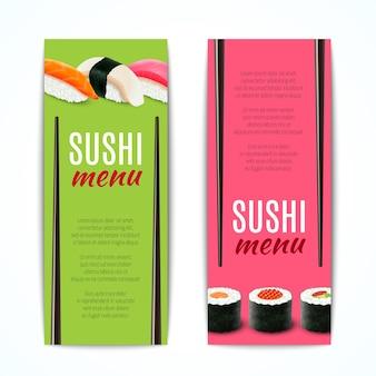Bandeiras de sushi verticais