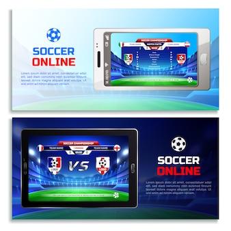 Bandeiras de transmissão on-line de futebol