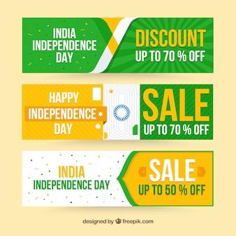 Bandeiras de venda do dia da independência de India com design plano