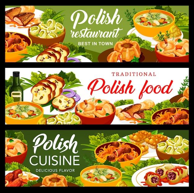 Bandeiras de vetores de pratos de restaurante de cozinha polonesa