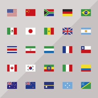 Bandeiras de vinte e cinco países